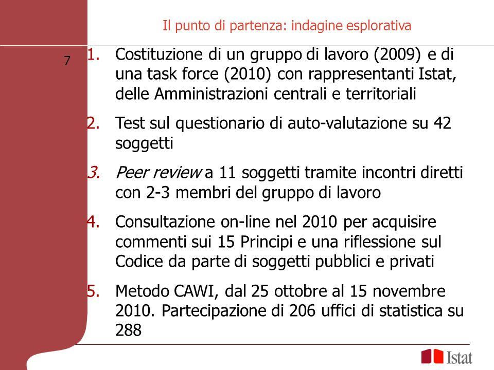 7 Il punto di partenza: indagine esplorativa 1.Costituzione di un gruppo di lavoro (2009) e di una task force (2010) con rappresentanti Istat, delle Amministrazioni centrali e territoriali 2.Test sul questionario di auto-valutazione su 42 soggetti 3.Peer review a 11 soggetti tramite incontri diretti con 2-3 membri del gruppo di lavoro 4.Consultazione on-line nel 2010 per acquisire commenti sui 15 Principi e una riflessione sul Codice da parte di soggetti pubblici e privati 5.Metodo CAWI, dal 25 ottobre al 15 novembre 2010.