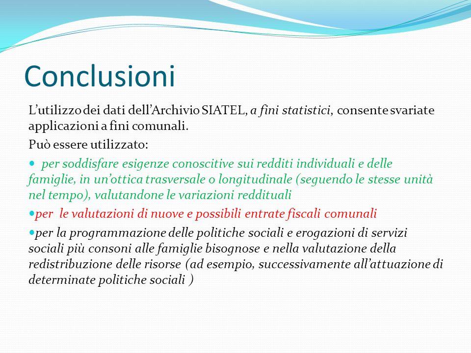 Conclusioni Lutilizzo dei dati dellArchivio SIATEL, a fini statistici, consente svariate applicazioni a fini comunali.