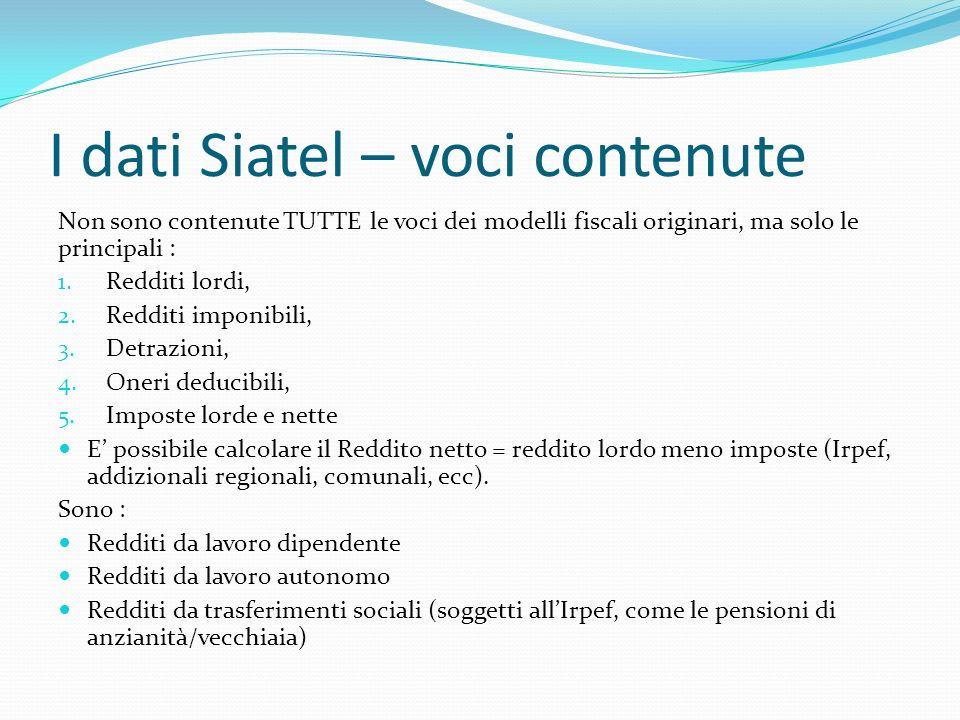 I dati Siatel – voci contenute Non sono contenute TUTTE le voci dei modelli fiscali originari, ma solo le principali : 1.