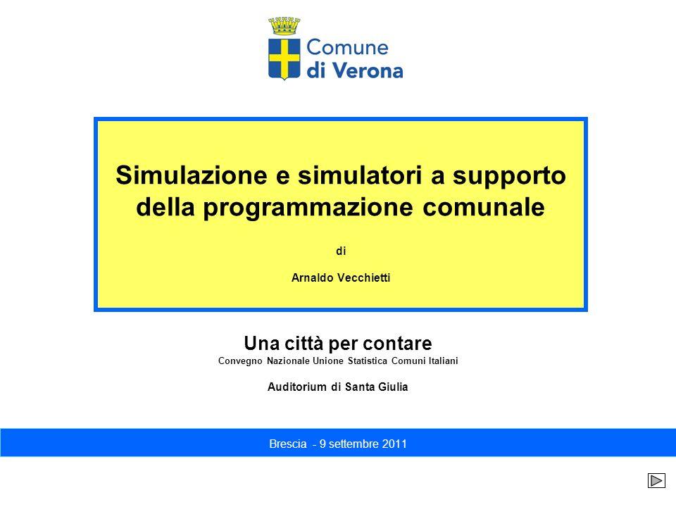 Simulazione e simulatori a supporto della programmazione comunale di Arnaldo Vecchietti Brescia - 9 settembre 2011 Una città per contare Convegno Nazi
