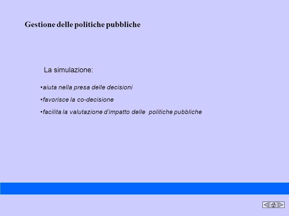 aiuta nella presa delle decisioni favorisce la co-decisione facilita la valutazione dimpatto delle politiche pubbliche Gestione delle politiche pubbli