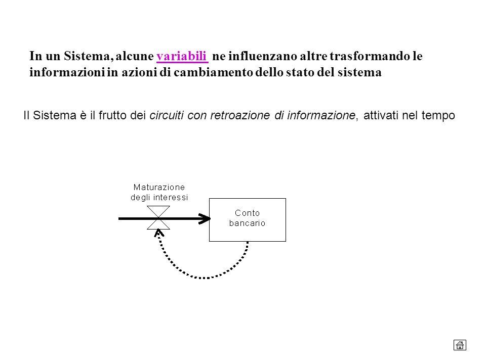 In un Sistema, alcune variabili ne influenzano altre trasformando le informazioni in azioni di cambiamento dello stato del sistemavariabili Il Sistema