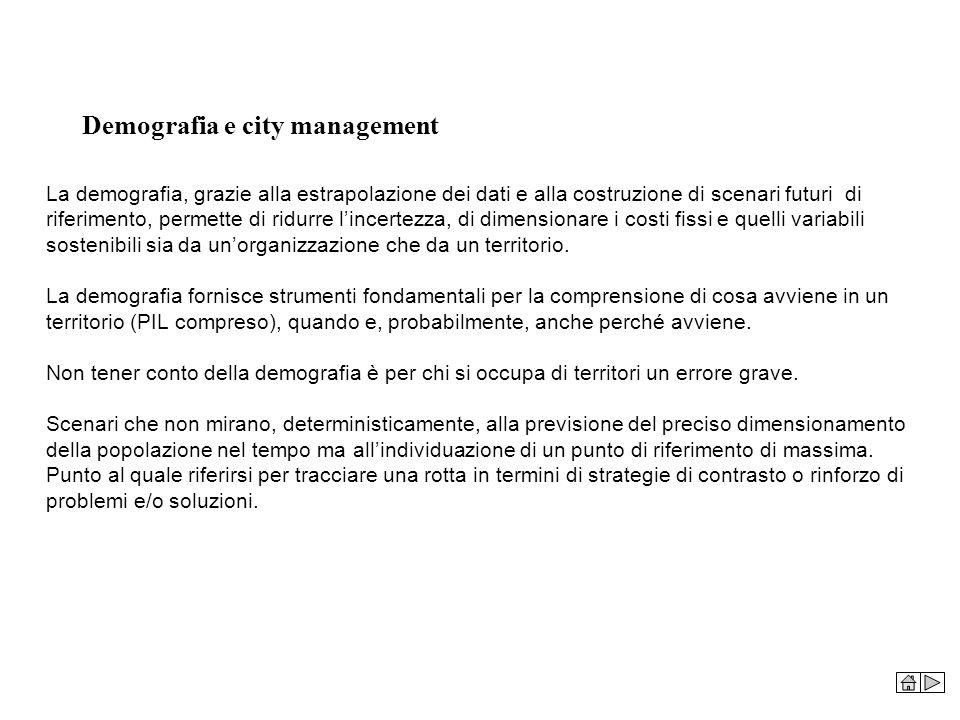 Demografia e city management La demografia, grazie alla estrapolazione dei dati e alla costruzione di scenari futuri di riferimento, permette di ridur