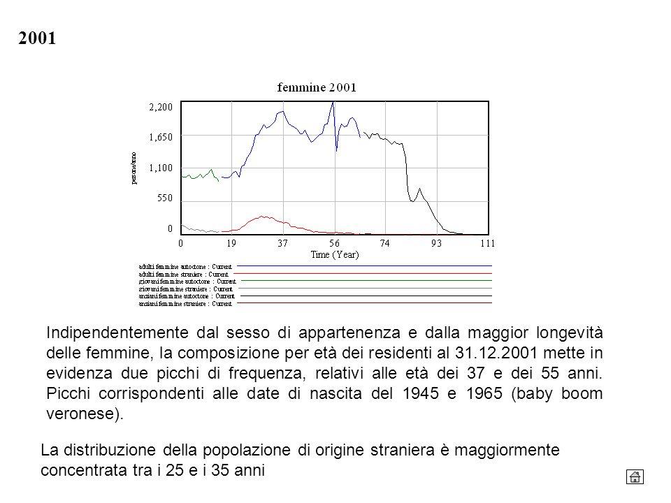 2001 Indipendentemente dal sesso di appartenenza e dalla maggior longevità delle femmine, la composizione per età dei residenti al 31.12.2001 mette in