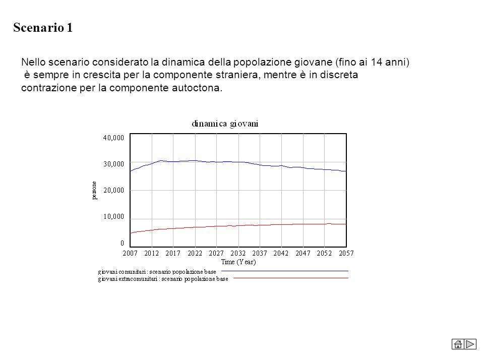Scenario 1 Nello scenario considerato la dinamica della popolazione giovane (fino ai 14 anni) è sempre in crescita per la componente straniera, mentre