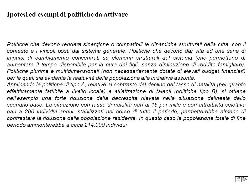 Ipotesi ed esempi di politiche da attivare Politiche che devono rendere sinergiche o compatibili le dinamiche strutturali della città, con il contesto