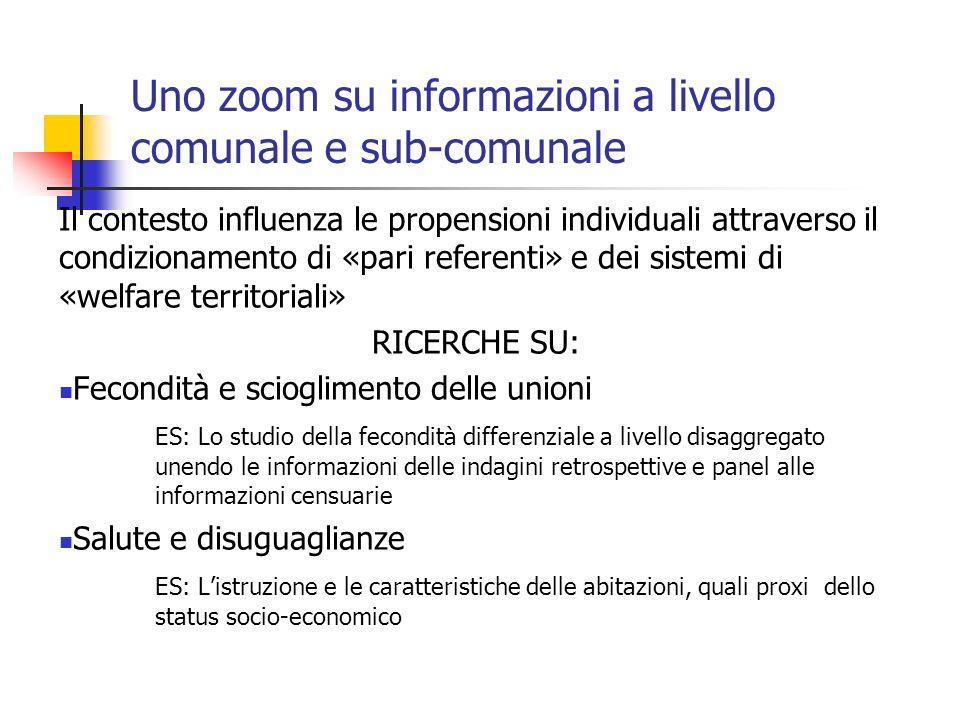 Uno zoom su informazioni a livello comunale e sub-comunale Il contesto influenza le propensioni individuali attraverso il condizionamento di «pari ref