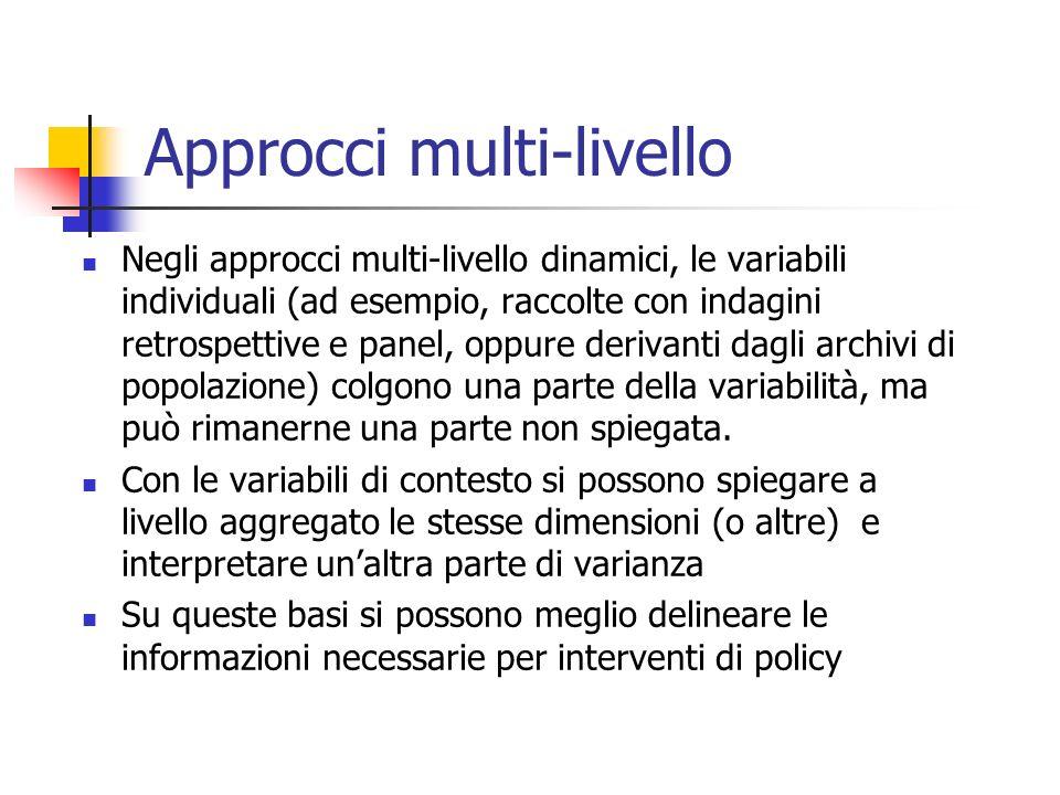 Approcci multi-livello Negli approcci multi-livello dinamici, le variabili individuali (ad esempio, raccolte con indagini retrospettive e panel, oppur