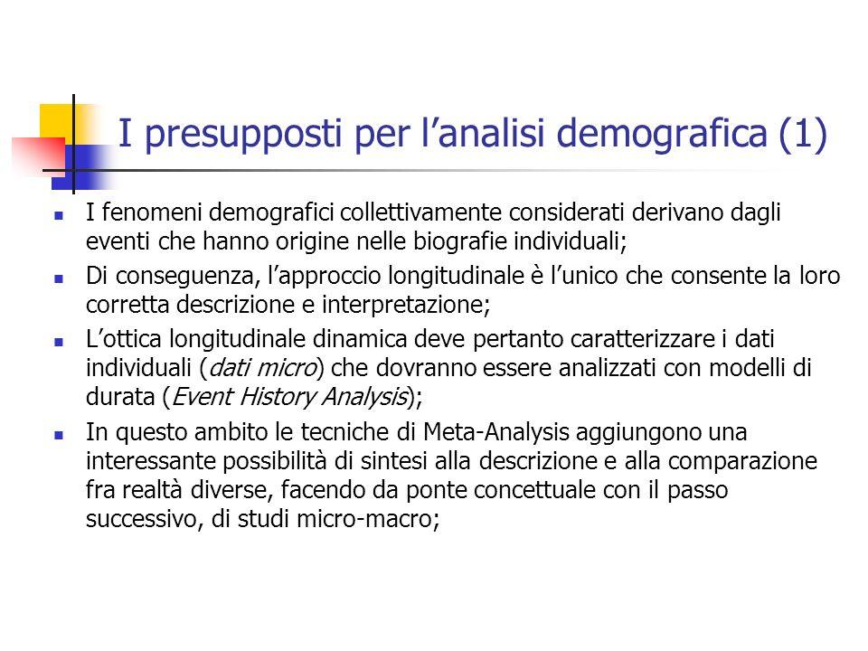 I presupposti per lanalisi demografica (1) I fenomeni demografici collettivamente considerati derivano dagli eventi che hanno origine nelle biografie