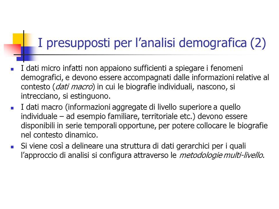 I presupposti per lanalisi demografica (2) I dati micro infatti non appaiono sufficienti a spiegare i fenomeni demografici, e devono essere accompagna