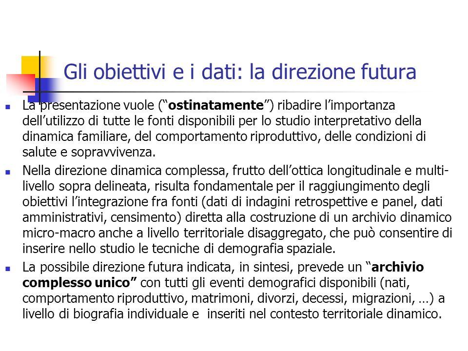 Gli obiettivi e i dati: la direzione futura La presentazione vuole (ostinatamente) ribadire limportanza dellutilizzo di tutte le fonti disponibili per