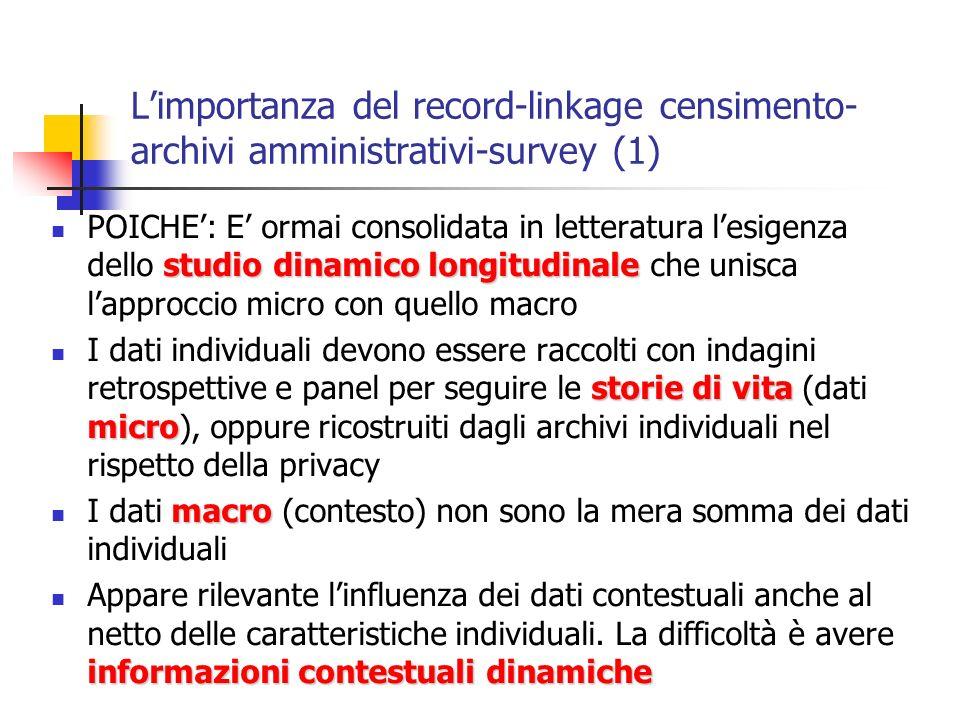 Limportanza del record-linkage censimento- archivi amministrativi-survey (1) studio dinamico longitudinale POICHE: E ormai consolidata in letteratura