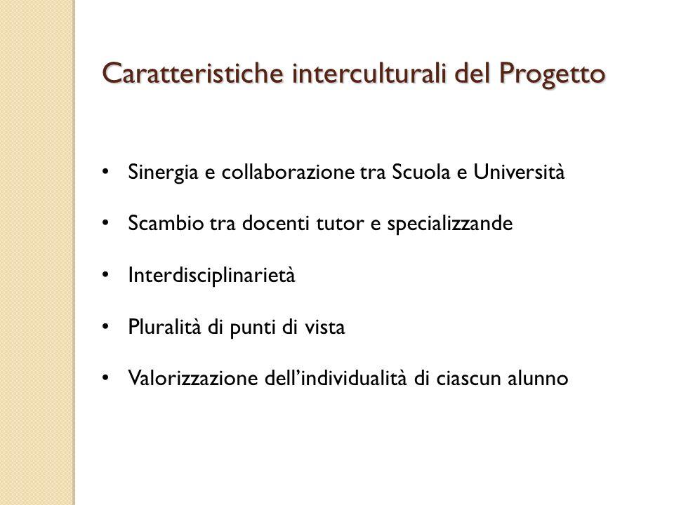 Sinergia e collaborazione tra Scuola e Università Scambio tra docenti tutor e specializzande Interdisciplinarietà Pluralità di punti di vista Valorizzazione dellindividualità di ciascun alunno Caratteristiche interculturali del Progetto