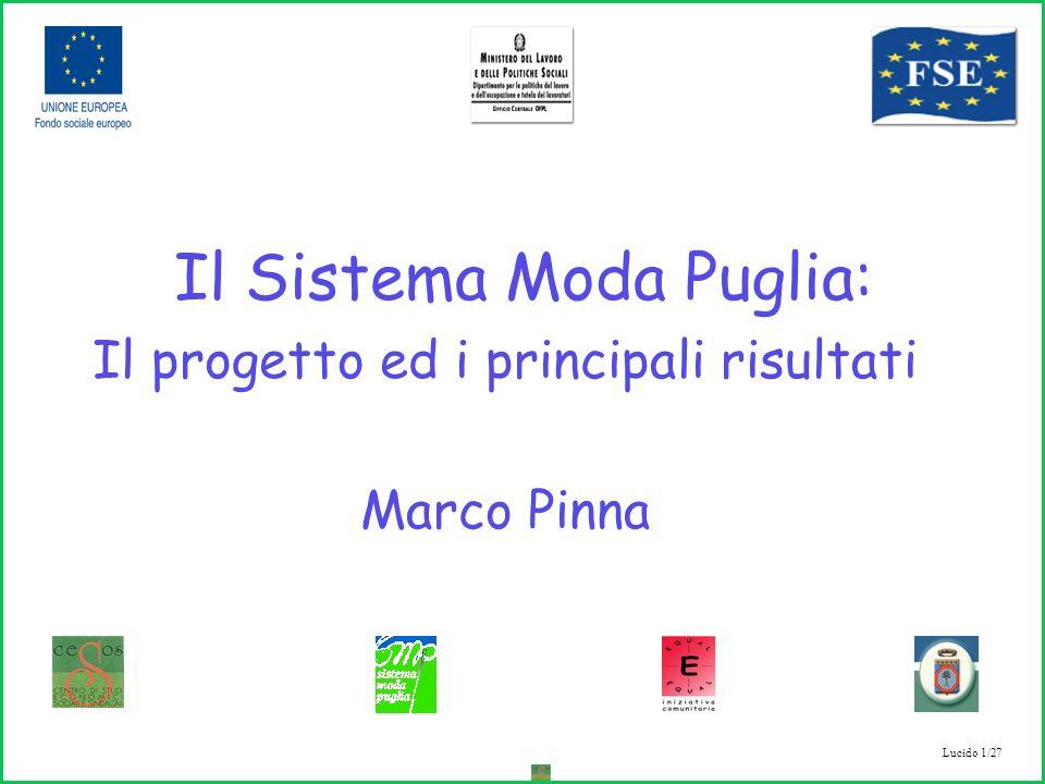 Lucido 1/27 Il Sistema Moda Puglia: Il progetto ed i principali risultati Marco Pinna