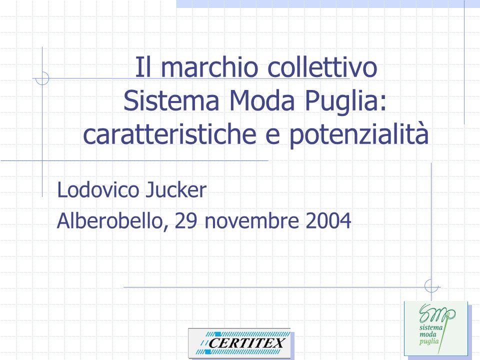 Il marchio collettivo Sistema Moda Puglia: caratteristiche e potenzialità Lodovico Jucker Alberobello, 29 novembre 2004