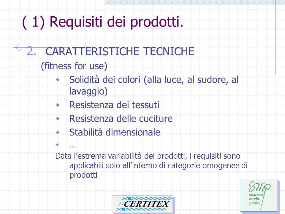 ( 1) Requisiti dei prodotti. 2. CARATTERISTICHE TECNICHE (fitness for use) Solidità dei colori (alla luce, al sudore, al lavaggio) Resistenza dei tess