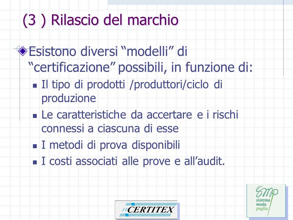 Esistono diversi modelli di certificazione possibili, in funzione di: Il tipo di prodotti /produttori/ciclo di produzione Le caratteristiche da accert