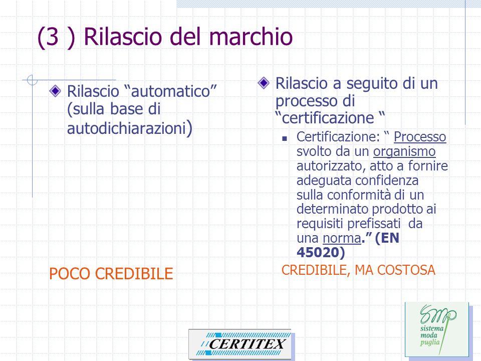 Rilascio automatico (sulla base di autodichiarazioni ) POCO CREDIBILE Rilascio a seguito di un processo di certificazione Certificazione: Processo svo