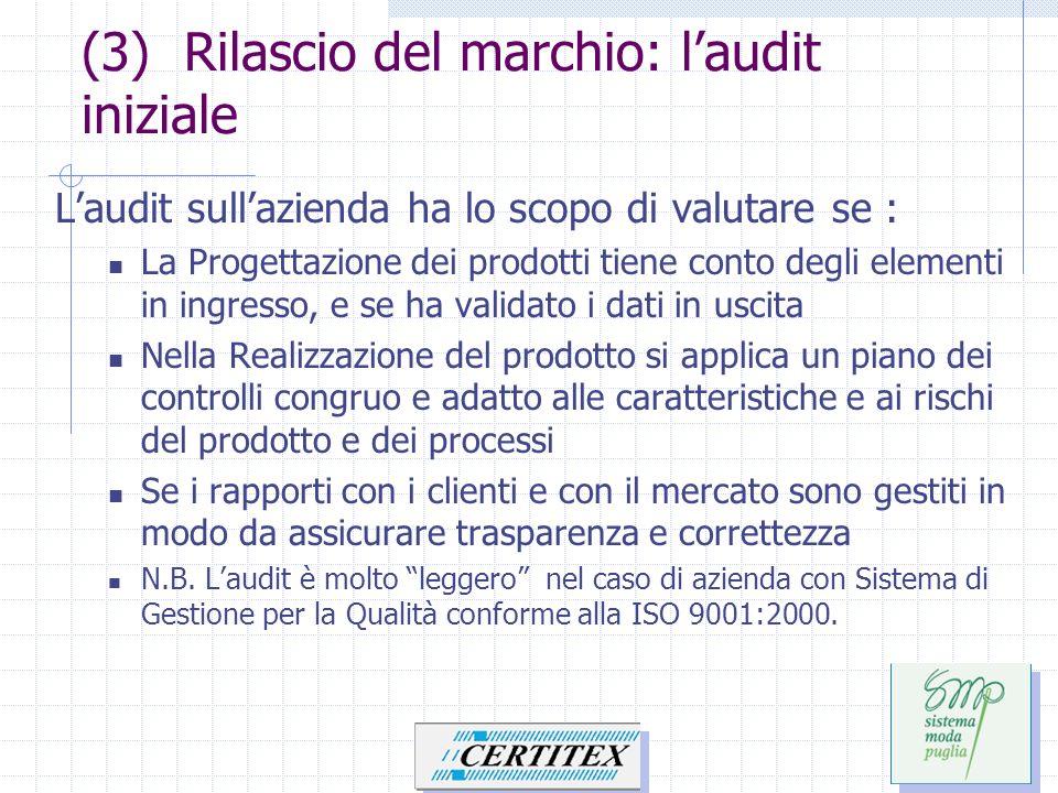 (3) Rilascio del marchio: laudit iniziale Laudit sullazienda ha lo scopo di valutare se : La Progettazione dei prodotti tiene conto degli elementi in