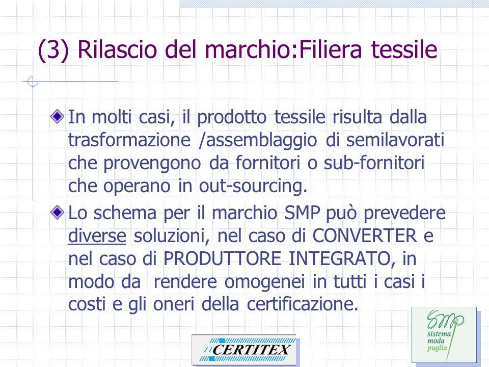 (3) Rilascio del marchio:Filiera tessile In molti casi, il prodotto tessile risulta dalla trasformazione /assemblaggio di semilavorati che provengono