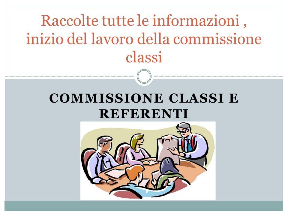 COMMISSIONE CLASSI E REFERENTI Raccolte tutte le informazioni, inizio del lavoro della commissione classi
