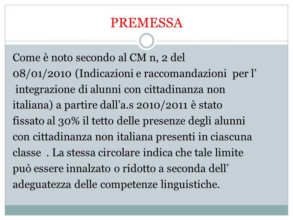 PREMESSA Come è noto secondo al CM n, 2 del 08/01/2010 (Indicazioni e raccomandazioni per l integrazione di alunni con cittadinanza non italiana) a partire dalla.s 2010/2011 è stato fissato al 30% il tetto delle presenze degli alunni con cittadinanza non italiana presenti in ciascuna classe.
