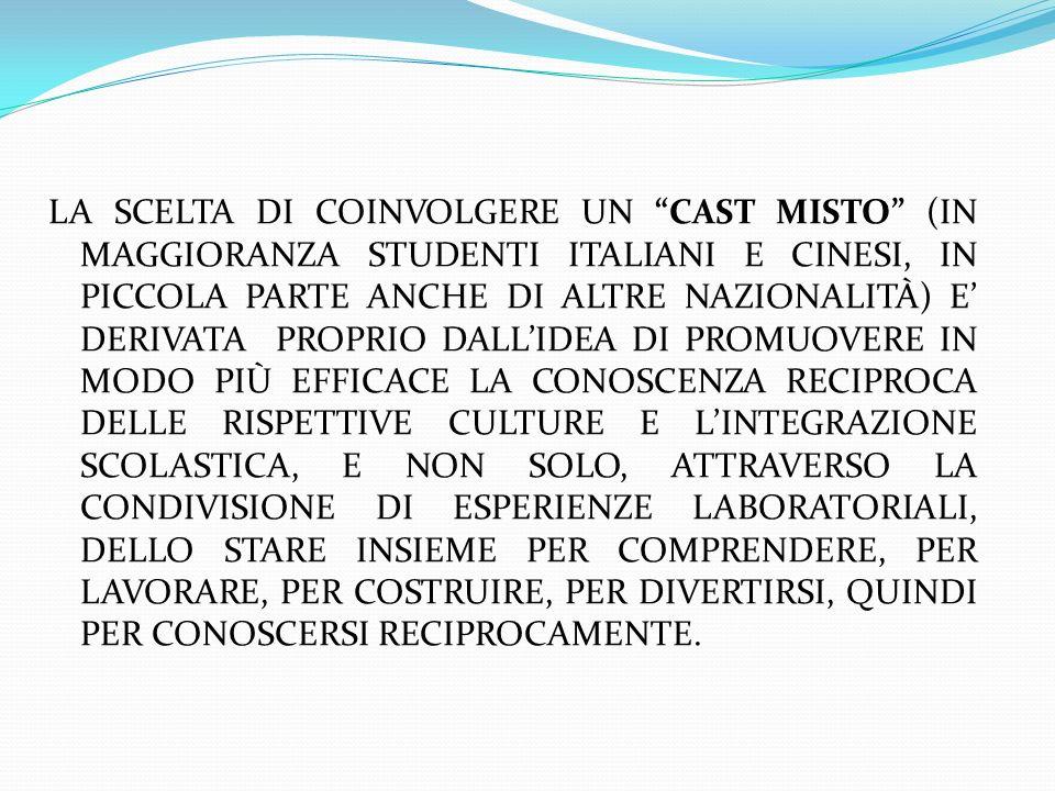 LA SCELTA DI COINVOLGERE UN CAST MISTO (IN MAGGIORANZA STUDENTI ITALIANI E CINESI, IN PICCOLA PARTE ANCHE DI ALTRE NAZIONALITÀ) E DERIVATA PROPRIO DALL IDEA DI PROMUOVERE IN MODO PIÙ EFFICACE LA CONOSCENZA RECIPROCA DELLE RISPETTIVE CULTURE E L INTEGRAZIONE SCOLASTICA, E NON SOLO, ATTRAVERSO LA CONDIVISIONE DI ESPERIENZE LABORATORIALI, DELLO STARE INSIEME PER COMPRENDERE, PER LAVORARE, PER COSTRUIRE, PER DIVERTIRSI, QUINDI PER CONOSCERSI RECIPROCAMENTE.