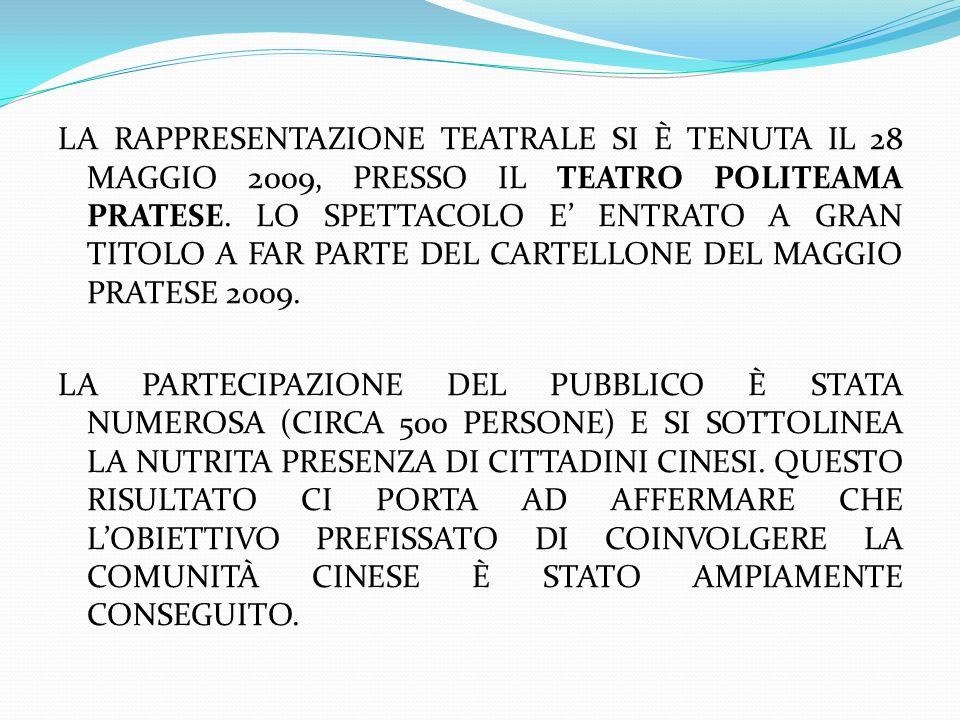 LA RAPPRESENTAZIONE TEATRALE SI È TENUTA IL 28 MAGGIO 2009, PRESSO IL TEATRO POLITEAMA PRATESE.