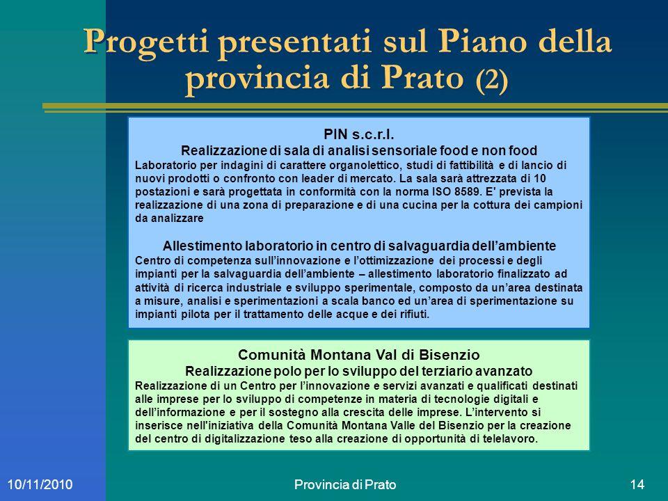 Provincia di Prato1410/11/2010 Progetti presentati sul Piano della provincia di Prato (2) PIN s.c.r.l. Realizzazione di sala di analisi sensoriale foo