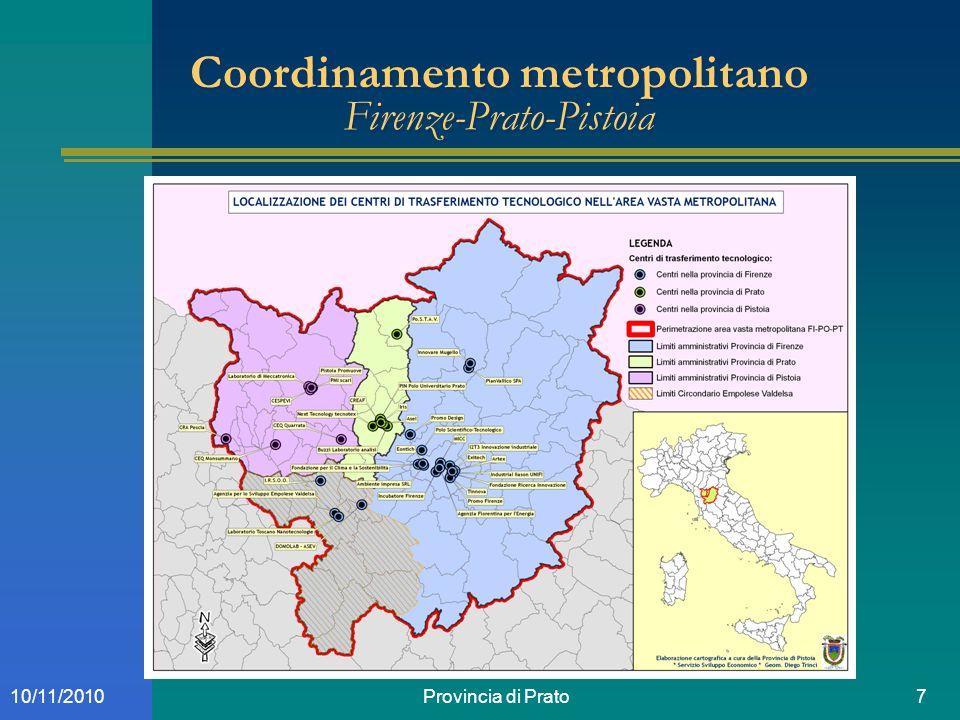 Provincia di Prato710/11/2010 Coordinamento metropolitano Firenze-Prato-Pistoia