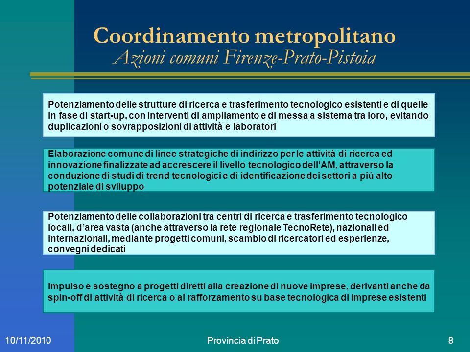 Provincia di Prato810/11/2010 Coordinamento metropolitano Azioni comuni Firenze-Prato-Pistoia Potenziamento delle strutture di ricerca e trasferimento
