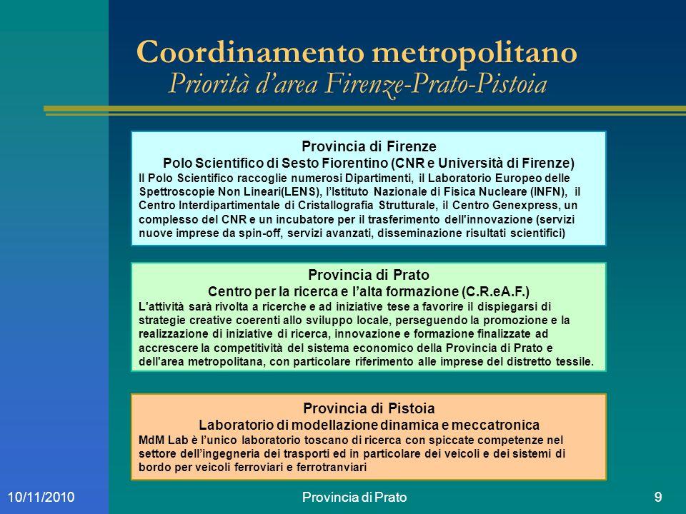 Provincia di Prato910/11/2010 Coordinamento metropolitano Priorità darea Firenze-Prato-Pistoia Provincia di Firenze Polo Scientifico di Sesto Fiorenti