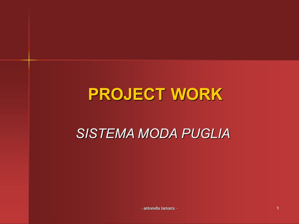 - antonella lamarra -12 Analisi del progetto La mia proposta prevede una ripensamento del SMP che si articola in un progetto sinergico, teso a completare le filiere produttive e ad aumentare il valore aggiunto delle produzioni attraverso economie di scala consortili, di gruppo e di distretto.