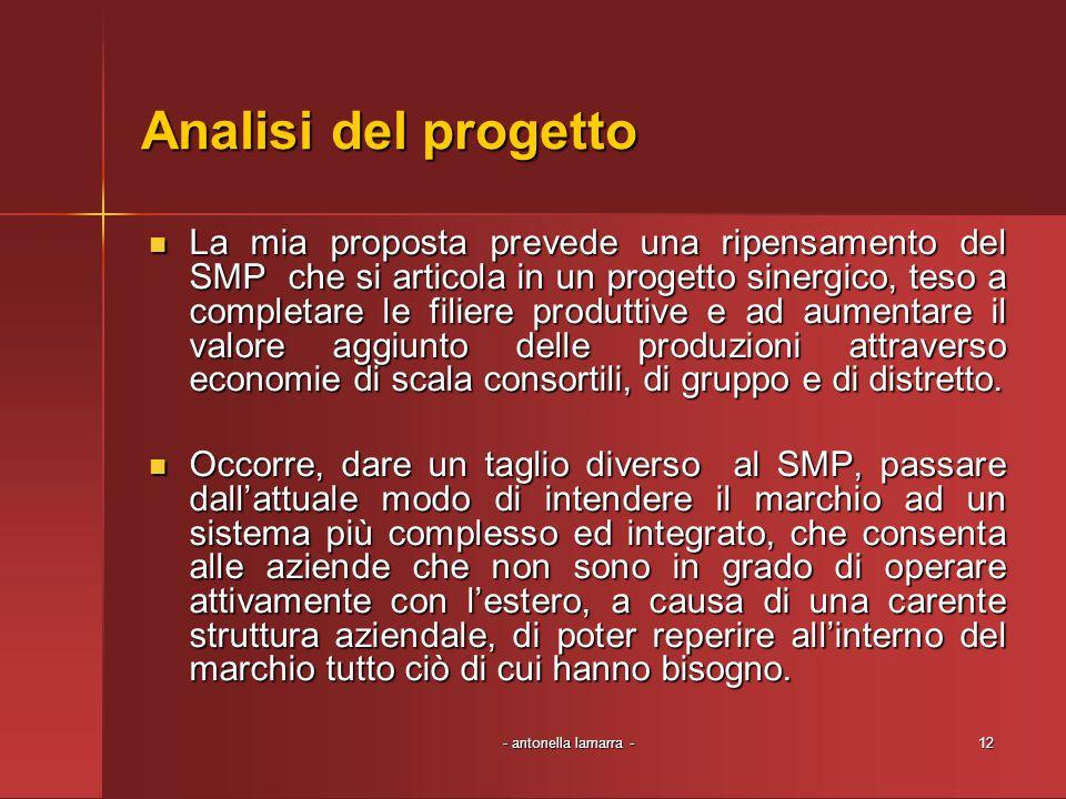 - antonella lamarra -12 Analisi del progetto La mia proposta prevede una ripensamento del SMP che si articola in un progetto sinergico, teso a complet