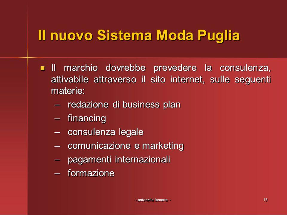 - antonella lamarra -13 Il nuovo Sistema Moda Puglia Il marchio dovrebbe prevedere la consulenza, attivabile attraverso il sito internet, sulle seguen