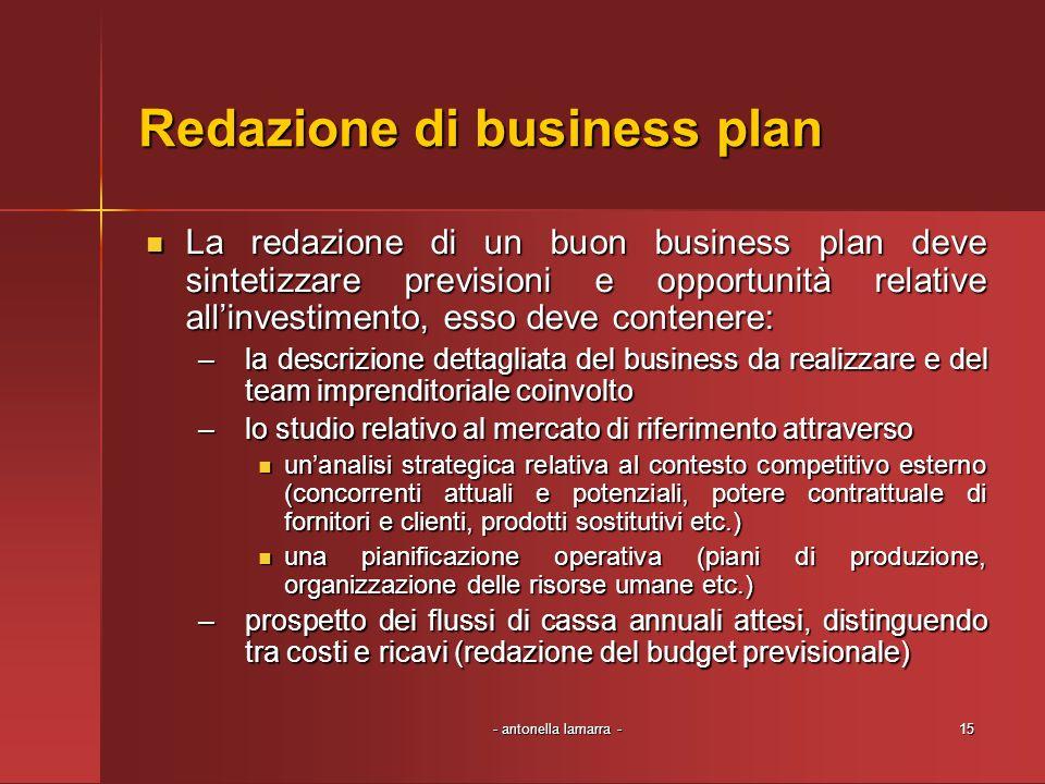 - antonella lamarra -15 Redazione di business plan La redazione di un buon business plan deve sintetizzare previsioni e opportunità relative allinvest