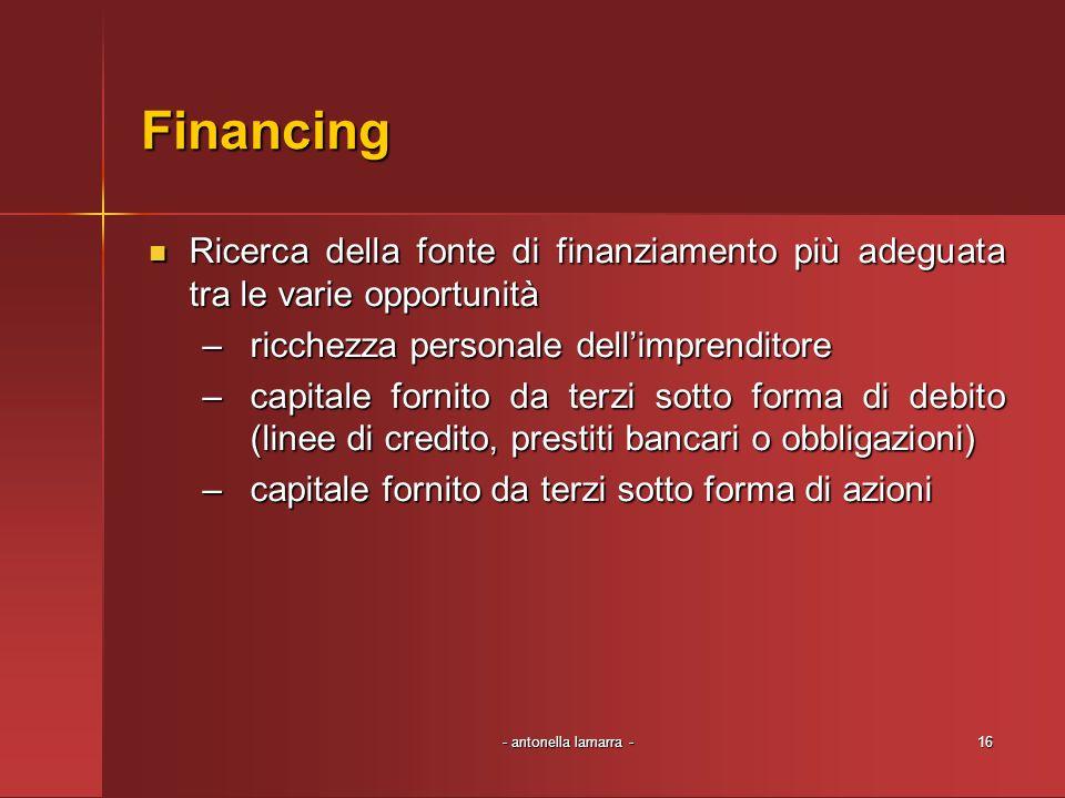 - antonella lamarra -16 Financing Ricerca della fonte di finanziamento più adeguata tra le varie opportunità Ricerca della fonte di finanziamento più