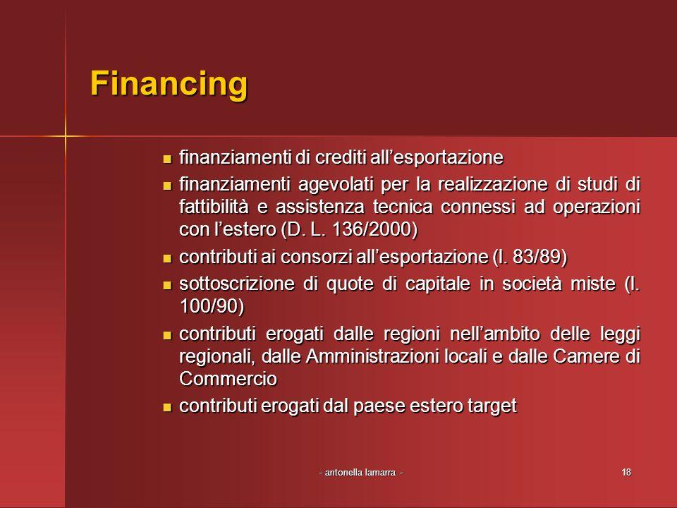 - antonella lamarra -18 Financing finanziamenti di crediti allesportazione finanziamenti di crediti allesportazione finanziamenti agevolati per la realizzazione di studi di fattibilità e assistenza tecnica connessi ad operazioni con lestero (D.
