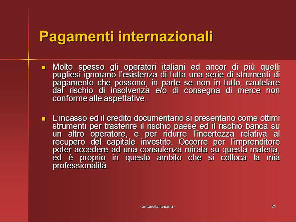 - antonella lamarra -21 Pagamenti internazionali Molto spesso gli operatori italiani ed ancor di più quelli pugliesi ignorano lesistenza di tutta una