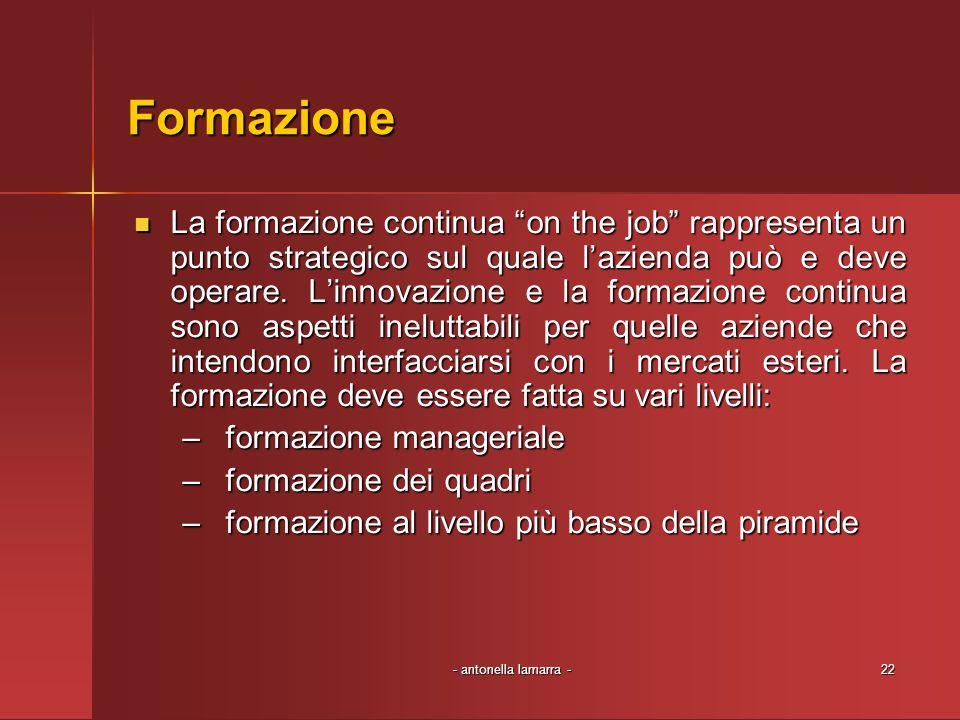 - antonella lamarra -22 Formazione La formazione continua on the job rappresenta un punto strategico sul quale lazienda può e deve operare. Linnovazio