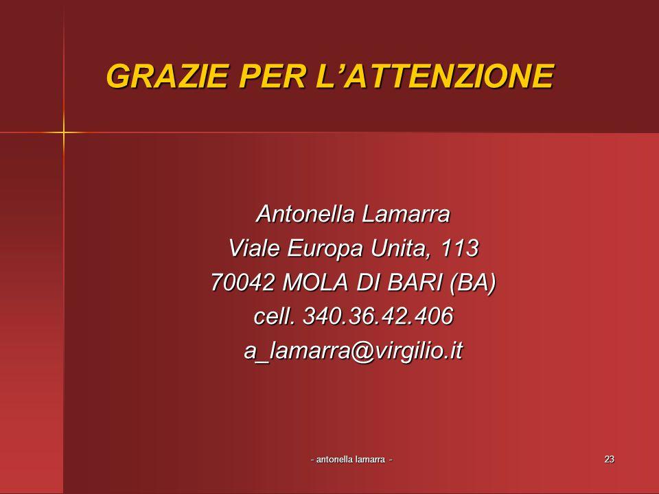 - antonella lamarra -23 GRAZIE PER LATTENZIONE Antonella Lamarra Viale Europa Unita, 113 70042 MOLA DI BARI (BA) cell. 340.36.42.406 a_lamarra@virgili