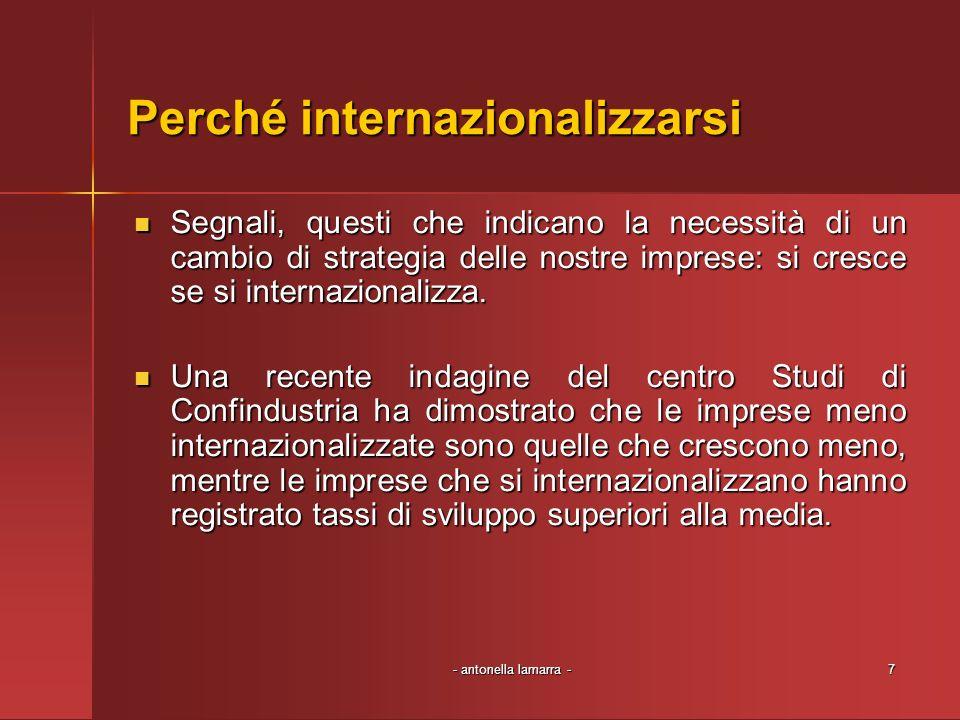 - antonella lamarra -7 Perché internazionalizzarsi Segnali, questi che indicano la necessità di un cambio di strategia delle nostre imprese: si cresce se si internazionalizza.