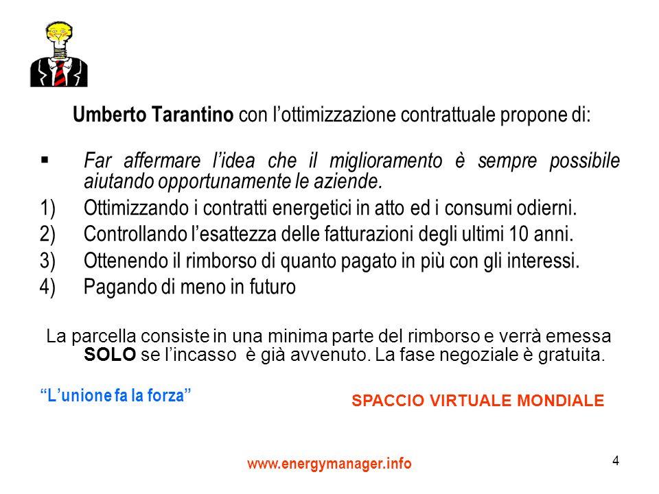 www.energymanager.info 4 Umberto Tarantino con lottimizzazione contrattuale propone di: Far affermare lidea che il miglioramento è sempre possibile aiutando opportunamente le aziende.