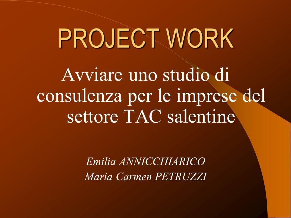 PROJECT WORK Avviare uno studio di consulenza per le imprese del settore TAC salentine Emilia ANNICCHIARICO Maria Carmen PETRUZZI