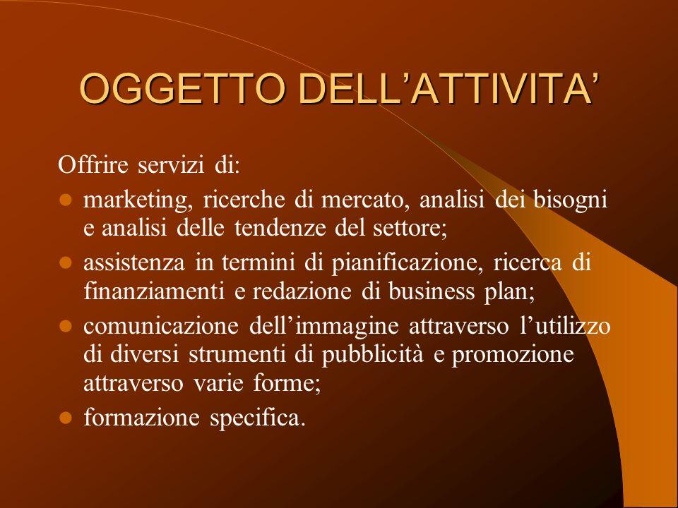 OGGETTO DELLATTIVITA Offrire servizi di: marketing, ricerche di mercato, analisi dei bisogni e analisi delle tendenze del settore; assistenza in termi