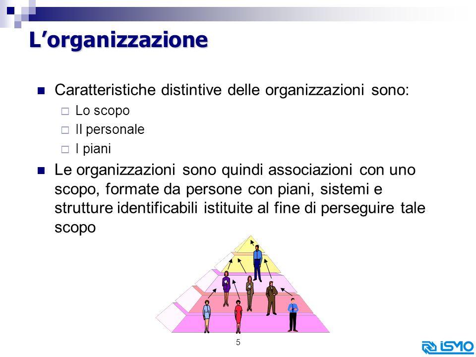 5 Lorganizzazione Caratteristiche distintive delle organizzazioni sono: Lo scopo Il personale I piani Le organizzazioni sono quindi associazioni con uno scopo, formate da persone con piani, sistemi e strutture identificabili istituite al fine di perseguire tale scopo
