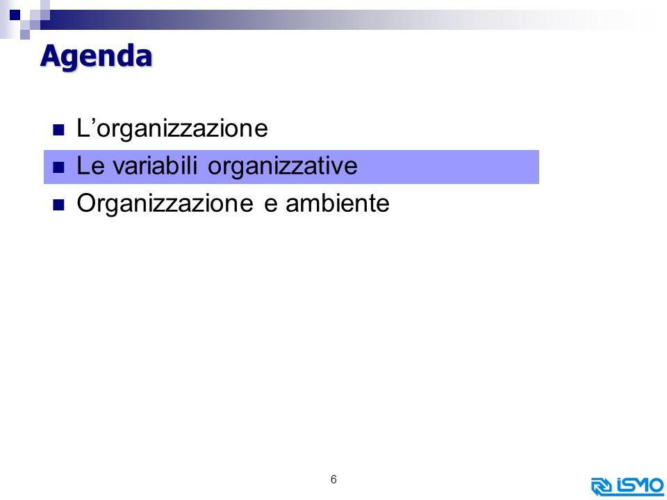6 Agenda Lorganizzazione Le variabili organizzative Organizzazione e ambiente