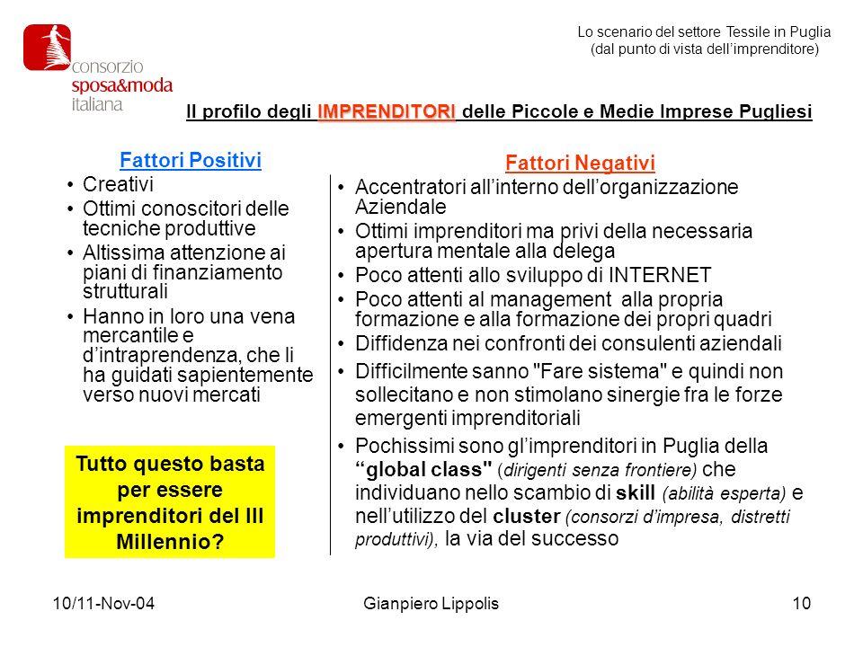 10/11-Nov-04Gianpiero Lippolis10 Fattori Positivi Creativi Ottimi conoscitori delle tecniche produttive Altissima attenzione ai piani di finanziamento