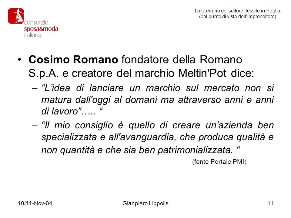 10/11-Nov-04Gianpiero Lippolis11 Cosimo Romano fondatore della Romano S.p.A. e creatore del marchio Meltin'Pot dice: –Lidea di lanciare un marchio sul