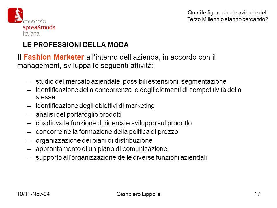 10/11-Nov-04Gianpiero Lippolis17 Il Fashion Marketer allinterno dellazienda, in accordo con il management, sviluppa le seguenti attività: –studio del